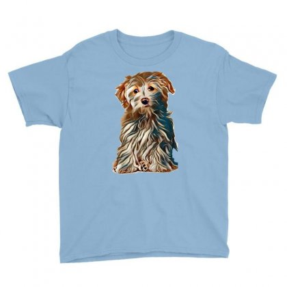Bichon Frise Cross Puppy Sat Up Isolated On A White Background Youth Tee Designed By Kemnabi