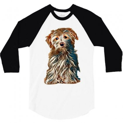 Bichon Frise Cross Puppy Sat Up Isolated On A White Background 3/4 Sleeve Shirt Designed By Kemnabi