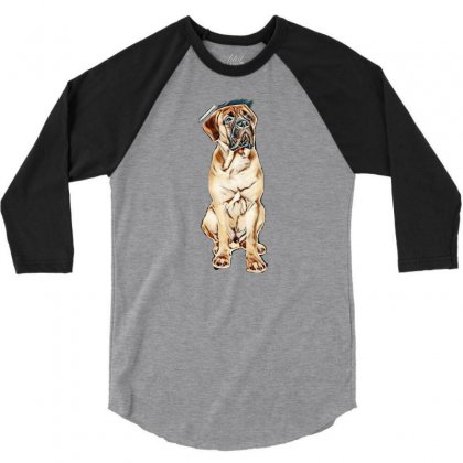 Red Puppy Bullmastiff Sitting On A White Background, Isolated. Dog 7 M 3/4 Sleeve Shirt Designed By Kemnabi