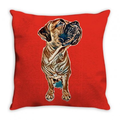 Red Puppy Bullmastiff Sitting On A White Background, Isolated. Dog 7 M Throw Pillow Designed By Kemnabi