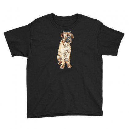 Red Puppy Bullmastiff Sitting On A White Background, Isolated. Dog 7 M Youth Tee Designed By Kemnabi