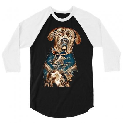 Portrait Of A Sad Dog. Muzzle In Full Face. In Isolation. 3/4 Sleeve Shirt Designed By Kemnabi