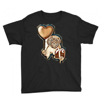 Smiling Puppy Holding A Heart Shaped Balloon And Gift Box. Isolated On Youth Tee Designed By Kemnabi