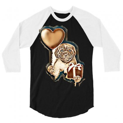 Smiling Puppy Holding A Heart Shaped Balloon And Gift Box. Isolated On 3/4 Sleeve Shirt Designed By Kemnabi