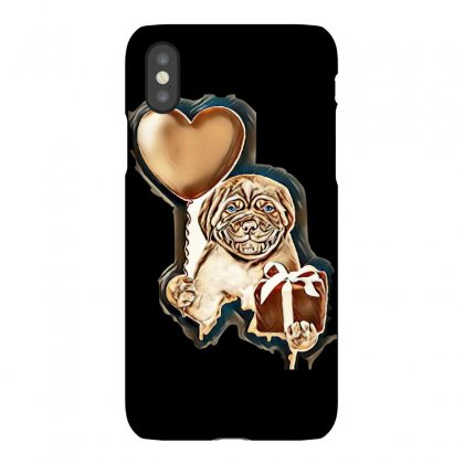 Smiling Puppy Holding A Heart Shaped Balloon And Gift Box. Isolated On Iphonex Case Designed By Kemnabi
