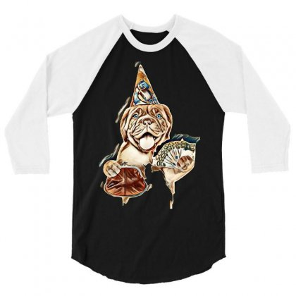 Happy Puppy In Party Hat With Retro Wallet And Euro. Isolated On White 3/4 Sleeve Shirt Designed By Kemnabi