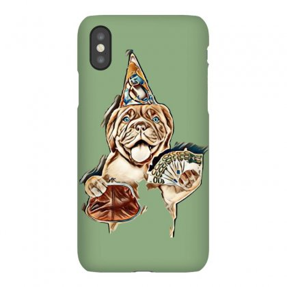 Happy Puppy In Party Hat With Retro Wallet And Euro. Isolated On White Iphonex Case Designed By Kemnabi