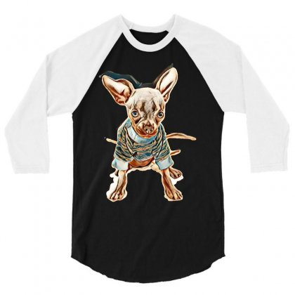Our 4 1/2 Month Old Rescue Chihuahua Named Chilli. Blue In Colour. Wea 3/4 Sleeve Shirt Designed By Kemnabi