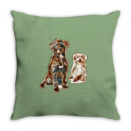 Black And White Dogs Sitting Throw Pillow Designed By Kemnabi