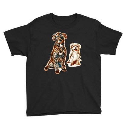 Black And White Dogs Sitting Youth Tee Designed By Kemnabi