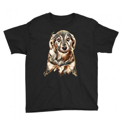 Puppy, Shepherd's Half-breed On A Brown Background Youth Tee Designed By Kemnabi