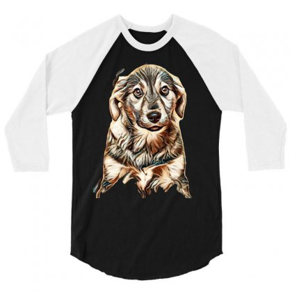 Puppy, Shepherd's Half-breed On A Brown Background 3/4 Sleeve Shirt Designed By Kemnabi
