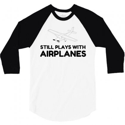 Plays With Airplanes 3/4 Sleeve Shirt Designed By Perfect Designers