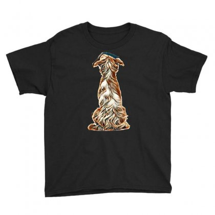Rear View Of A Crossbreed, 5 Months Old, Sitting And Looking Up Agains Youth Tee Designed By Kemnabi