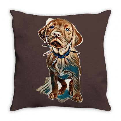 Fox Red Labrador Puppy Wearing A Spikey Collar Standing In A White Set Throw Pillow Designed By Kemnabi