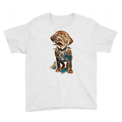 Fox Red Labrador Puppy Wearing A Spikey Collar Standing In A White Set Youth Tee Designed By Kemnabi