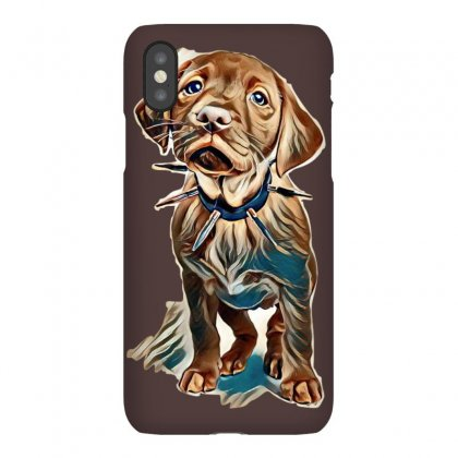 Fox Red Labrador Puppy Wearing A Spikey Collar Standing In A White Set Iphonex Case Designed By Kemnabi