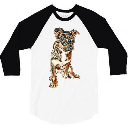 Little Chihuahua In Front Of White Background 3/4 Sleeve Shirt Designed By Kemnabi