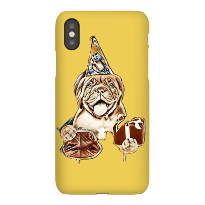 Happy Puppy In Party Hat With Retro Wallet And Gift Box. Isolated On W Iphonex Case Designed By Kemnabi