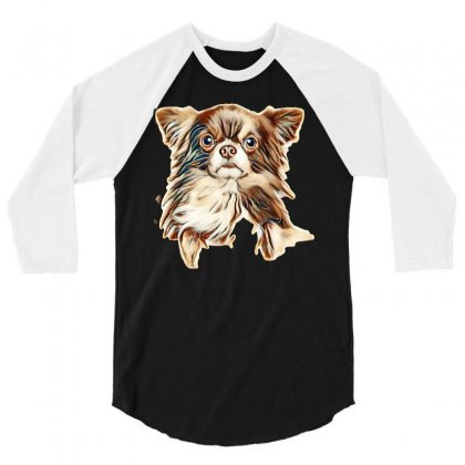 Close-up Portrait Of A Longhaired Chihuahua Dog Above Banner, Isolated 3/4 Sleeve Shirt Designed By Kemnabi