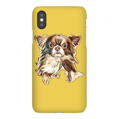 Close-up Portrait Of A Longhaired Chihuahua Dog Above Banner, Isolated Iphonex Case Designed By Kemnabi