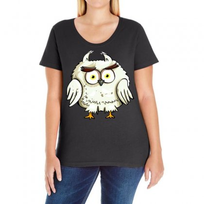 Owl Bird Eyes Cartoon Good Ladies Curvy T-shirt Designed By Salmanaz