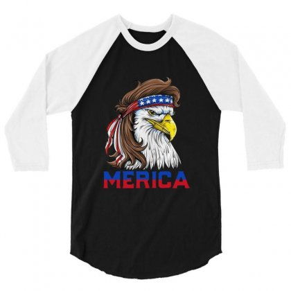 Patriotic American Flag 4th Of July 3/4 Sleeve Shirt Designed By Balqis Tees