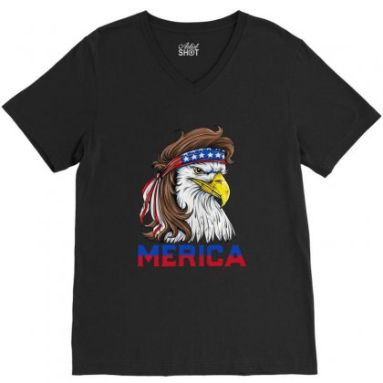 Patriotic American Flag 4th Of July V-neck Tee Designed By Balqis Tees