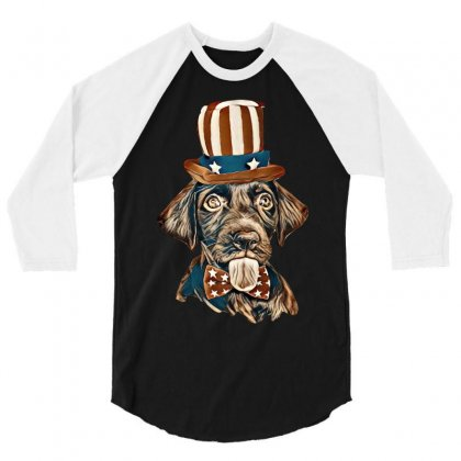 Cute Chocolate Labrador Retriever In Uncle Sam Hat And Bow Tie 3/4 Sleeve Shirt Designed By Kemnabi