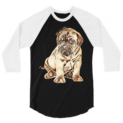 Portrait Of A Bordeaux Puppy. Isolated On White Background 3/4 Sleeve Shirt Designed By Kemnabi