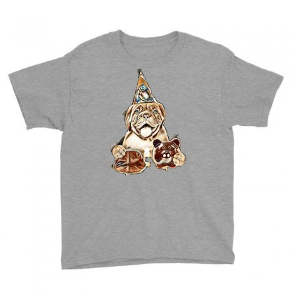 Funny Puppy In Party Hat With Retro Wallet And Piggy Bank In The Paws. Youth Tee Designed By Kemnabi