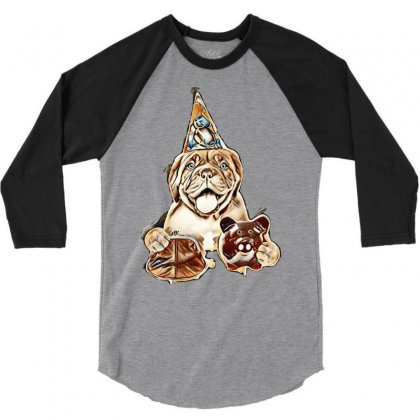Funny Puppy In Party Hat With Retro Wallet And Piggy Bank In The Paws. 3/4 Sleeve Shirt Designed By Kemnabi