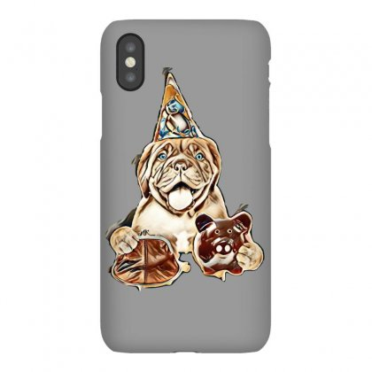 Funny Puppy In Party Hat With Retro Wallet And Piggy Bank In The Paws. Iphonex Case Designed By Kemnabi