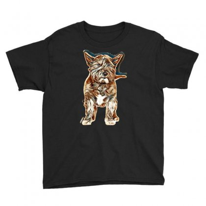 Black West Highland Terrier In Front Of A White Background Youth Tee Designed By Kemnabi