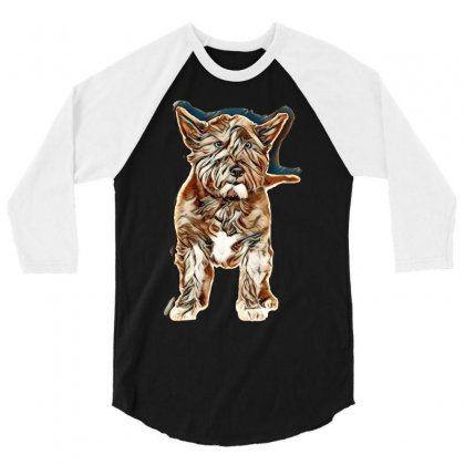 Black West Highland Terrier In Front Of A White Background 3/4 Sleeve Shirt Designed By Kemnabi