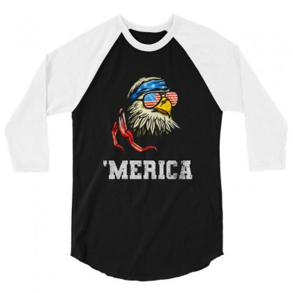 Independence Day American Flag Patriotic 3/4 Sleeve Shirt Designed By Balqis Tees