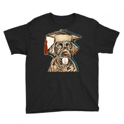 Cute Chocolate Labrador Retriever In A Graduation Cap Youth Tee Designed By Kemnabi