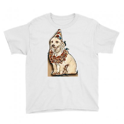 Cute Birthday Bichon Wearing Orange Garland Looks To Side While Sittin Youth Tee Designed By Kemnabi