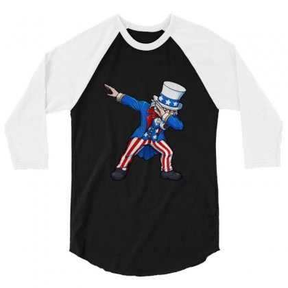 Fourth Of July Dabbing Uncle Sam Usa 3/4 Sleeve Shirt Designed By Balqis Tees