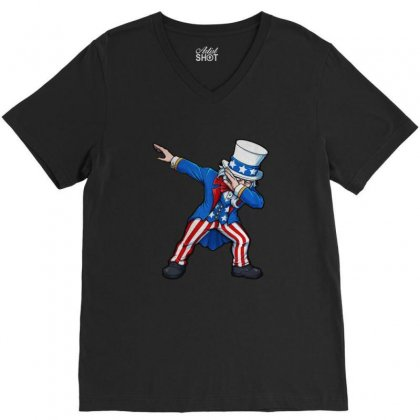 Fourth Of July Dabbing Uncle Sam Usa V-neck Tee Designed By Balqis Tees
