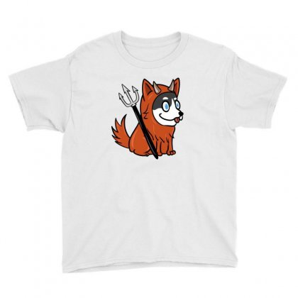 Husky In Scary Devil Costume Youth Tee Designed By Lotus Fashion Realm