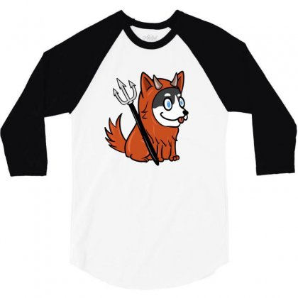 Husky In Scary Devil Costume 3/4 Sleeve Shirt Designed By Lotus Fashion Realm