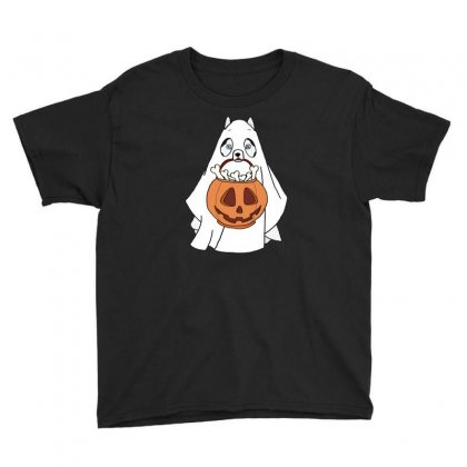 Husky Ghost Halloween Youth Tee Designed By Lotus Fashion Realm