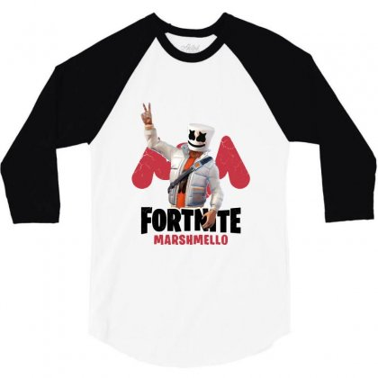 Fortnite Marshmello 3/4 Sleeve Shirt Designed By Balqis Tees