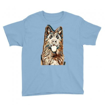 German Shepherd In Front Of White Background Youth Tee Designed By Kemnabi