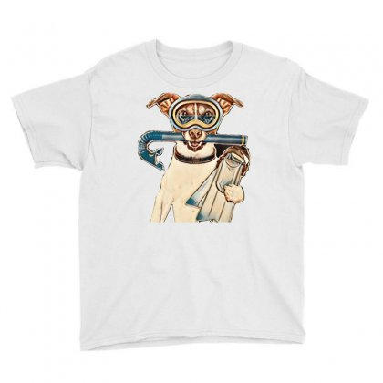 Scuba Dog With Tins Snorkel And Goggles Youth Tee Designed By Kemnabi