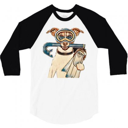 Scuba Dog With Tins Snorkel And Goggles 3/4 Sleeve Shirt Designed By Kemnabi