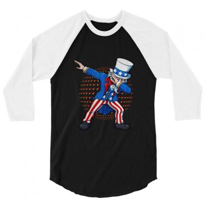 Dabbing Uncle Sam Usa 3/4 Sleeve Shirt Designed By Balqis Tees