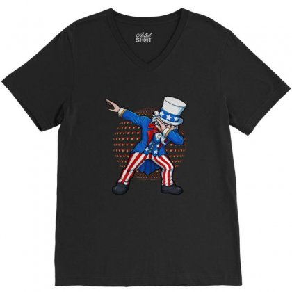 Dabbing Uncle Sam Usa V-neck Tee Designed By Balqis Tees