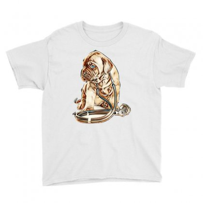 Puppy With Stethoscope On His Neck Looking Away. Isolated On White Bac Youth Tee Designed By Kemnabi